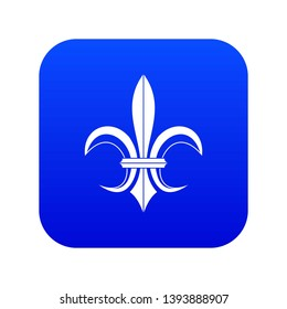 Lily heraldic emblem icon digital blue for any design isolated on white vector illustration