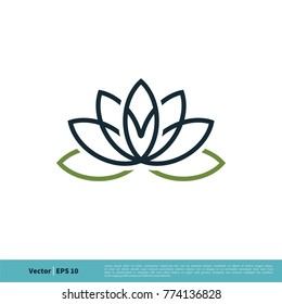 Lily / lotus Flower Icon Vector Logo Template