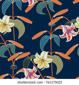 Lily seamless pattern with trendy color spring sammer 2018. Vector illustration
