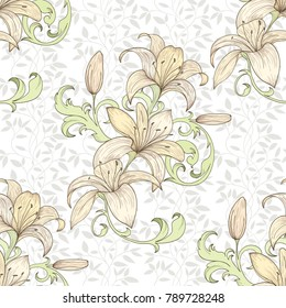 Lily seamless pattern for wallpaper, website or textile printing Hand drawn endless illustration of flowers on light background of curled leaves