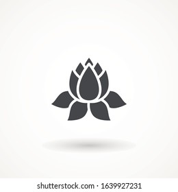 Lily Simple lotus icon plant Lotus plant icon symbol. Spa and wellness theme design element Yoga