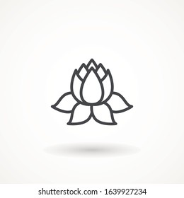 Lily Simple lotus plant line icon Lotus plant outline icon symbol. Spa and wellness theme design element Yoga