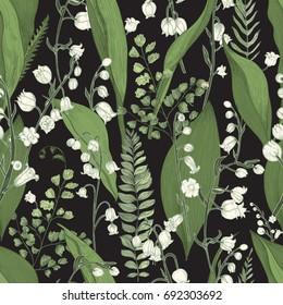 Lily of the valley with fern seamless pattern. Hand drawn  texture with flowers, buds, leaves and stems. Colorful vector illustration.