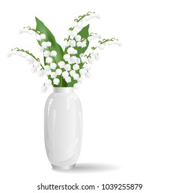 Lily of the valley flowers (may bells, Convallaria majalis) in white vase. Realistic vector illustration isolated on white background.