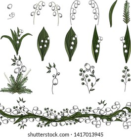 Lily of the valley hand drawn doodle vector set on a white background,  hand art doodle flowers and herbs, lily of the valley  for creating interesting designs, invitations and cards