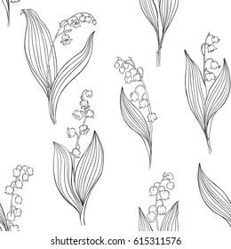 Lily of the valley. Seamless vector pattern. Black contour illustration on a white background.