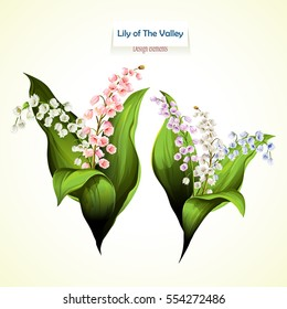 Lily of the Valley. Vector illustration of two bouquet. Can be used in personal design, invitations appearance, greeting card, etc. Stock.