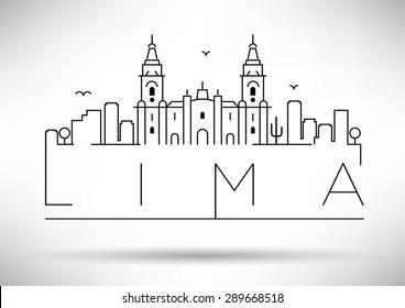 Lima City Line Silhouette Typographic Design
