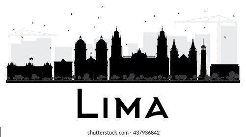 Lima City skyline black and white silhouette. Vector illustration. Simple flat concept for tourism presentation, banner, placard or web site. Cityscape with landmarks