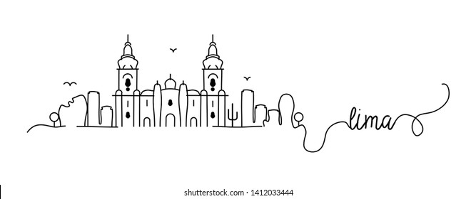 Lima City Skyline Doodle Sign