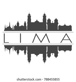 Lima Peru America Skyline Vector Art Mirror Silhouette Emblematic Buildings