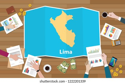 lima peru capital city region economy growth with team discuss on fold maps view from top vector illustration