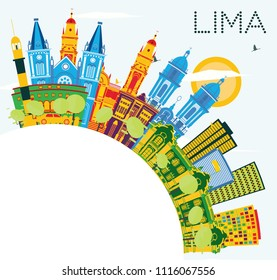 Lima Peru City Skyline with Color Buildings, Blue Sky and Copy Space. Vector Illustration. Business Travel and Tourism Concept with Lima City. Lima Cityscape with Landmarks.