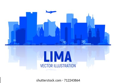 Lima (Peru) skyline with panorama in white background. Vector Illustration. Business travel and tourism concept with modern buildings. Image for presentation, banner, web site.