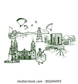 Lima Peru skyline . Places and Architecture around the World  - Collection of hand drawn illustrations