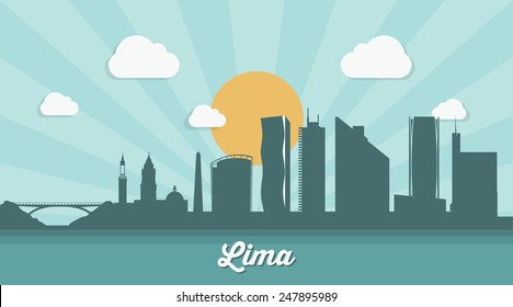 Lima skyline - flat design - vector illustration