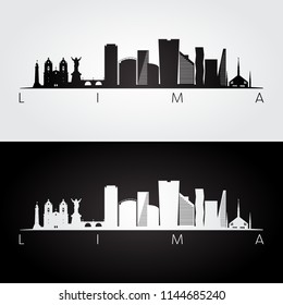 Lima skyline and landmarks silhouette, black and white design, vector illustration.