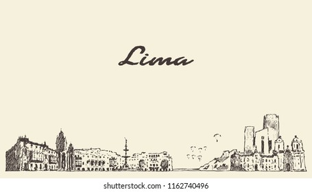 Lima skyline, Peru, hand drawn vector illustration, sketch