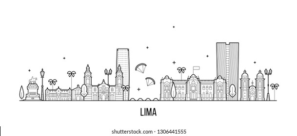 Lima skyline, Peru. This illustration represents the city with its most notable buildings. Vector is fully editable, every object is holistic and movable