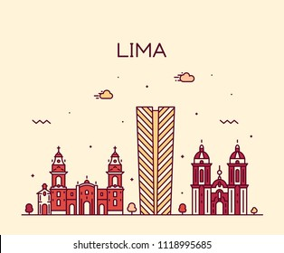 Lima skyline, Peru. Trendy vector illustration, linear style