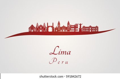 Lima skyline in red and gray background in editable vector file