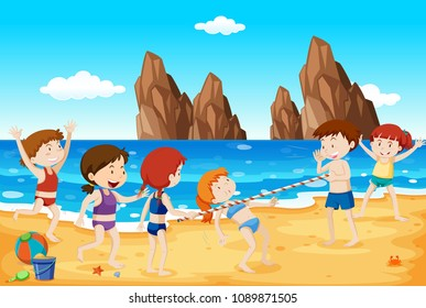 Limbo Dance on the Beach illustration