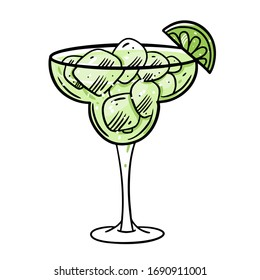 Lime Cocktail. Hand drawn flat style. Cartoon vector illustration. Isolated on white background. Design for sign, template, banner, poster, card, t-shirt, blog and web.