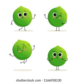 Lime. Cute cartoon exotic citrus fruit vector character set isolated on white
