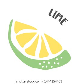 Lime drawing hand painted with ink brush isolated on white background. Vector illustration