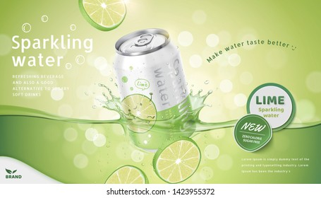 Lime flavor sparkling water ads with product soaking in the liquid on green bokeh background, 3d illustration