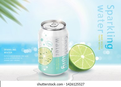 Lime flavor sparkling water ads on bokeh beach background in 3d illustration