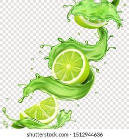Lime fruit in green juice splash for advertising. Vector mojito splashing cocktail or citrus tonic.
