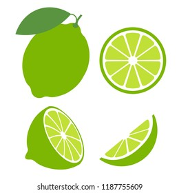 Lime with green leaves isolated on white background. Raw vegetarian food. Lime whole, half and slice vector illustration. Green citrus set icons
