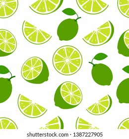 Lime with green leaves, slice citrus white background. Tropical fruits. vegetarian food. Seamless pattern. Vector illustration. - Vector