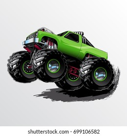 Lime Green Monster Truck with Supercharger and KC Lights