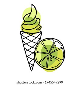 Lime Ice Cream cone. Lime slice fruit with ice cream in waffle cone. Hand drawn sketch with bright green backdrop. Citrus fruit and delicious frozen dessert Vector Illustration. Summertime sweet food