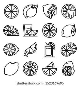 Lime icons set. Outline set of lime vector icons for web design isolated on white background