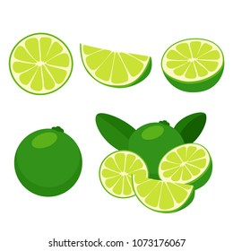lime isolated set, slice, cut (flat design)