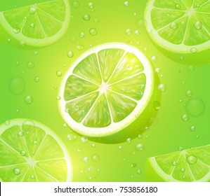 Lime juice green background. Refreshing citrus drink with bubbles and drops. Mojito vector cocktail illustration