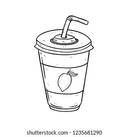 lime or lemon juce in the cup with doodle or sketch style