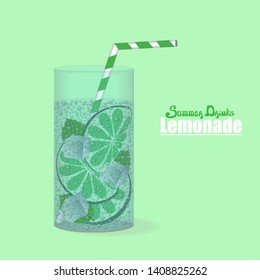 Lime lemonade or Mojito in glass with straw. Vector illustration. Relax or healthy food concept