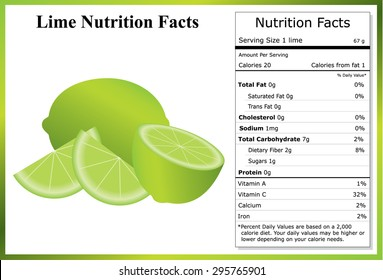 Lime Nutrition Facts - Whole lime, half lime and slices with a nutrition label