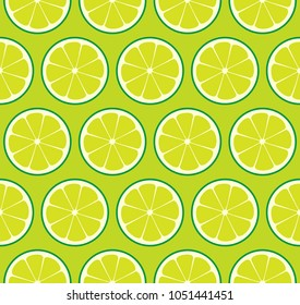 Limeade Lime Seamless Vector Pattern Tile. Green Limes Cut in Half into Round Slices Arranged on Yellow-Green Background. Lemonade Stand Summer Party Decoration. Food Packaging Design. Swatch Included