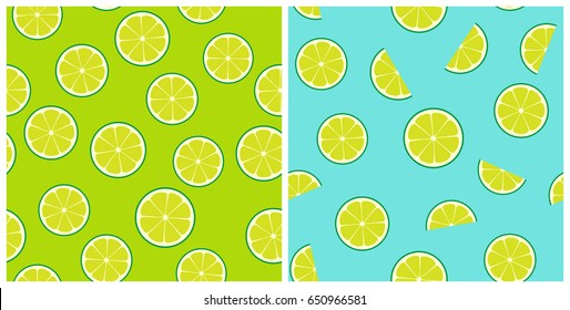 Limeade Seamless Vector Pattern Tiles. Green Lime Round and Half Slices Randomly Arranged on Green and Aqua Blue Background. Lemonade Stand Picnic Party Decor. Food Packaging Design. Swatches Included