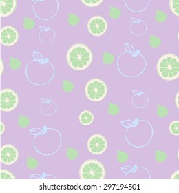 Limes and apples on lavender purple seamless vector background