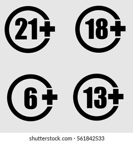 Limit age icon set Vector.