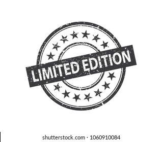 Limited edition - Black stamp isolated on the white background. Abstract label design with stars. Vector eps 10