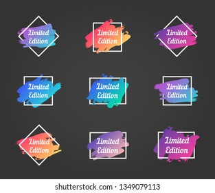 limited edition promo phrase. limited edition stock vector illustrations with painted gradient brush strokes over square frames for advertising labels, stickers, banners, leaflets, tags, posters