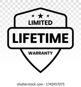 Limited lifetime warranty seal or stamp - Line art icon for apps or website