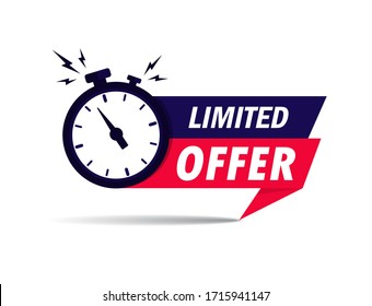 Limited offer icon with time countdown. Super promo label with alarm clock and word. Last offer banner for sale promotion. Red flat sticker hurry deal. Auction tag. Last minute chance stamp. vector